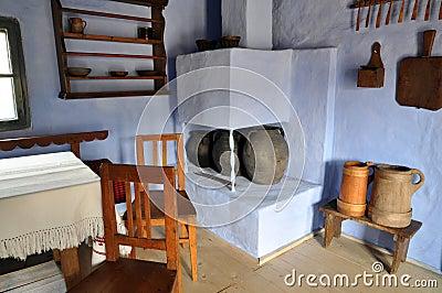 Traditional romanian house interior, Transylvania