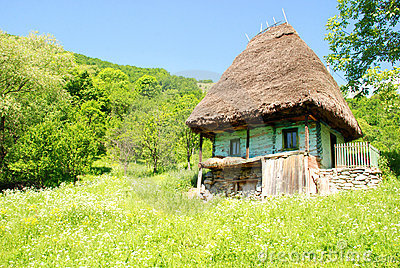 Traditional romanian house with straw roof
