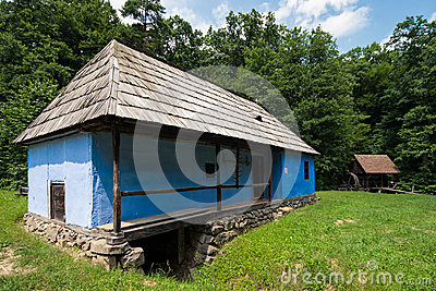 Traditional Romanian House in the Village Museum. Editorial Photo