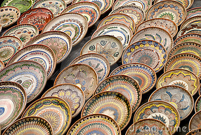Traditional romanian pottery plates
