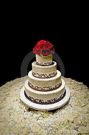 Free Traditional Round Four Tiered Wedding Cake Stock Images - 12514104