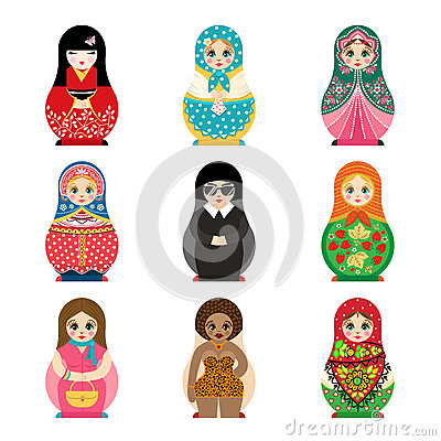 Free Traditional Russian Matryoshka Toy Set With Handmade Ornament Figure Pattern With Child Face And Babushka Woman Souvenir Stock Image - 87561761