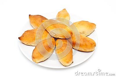 Traditional russian potato stuffed pastry