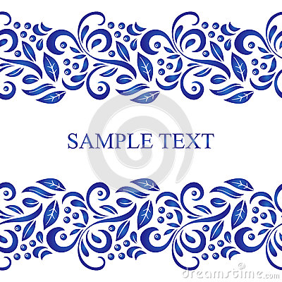 Traditional Russian vector seamless pattern frame in gzhel style. Can be used for banner, card, poster, invitation etc. Vector Illustration