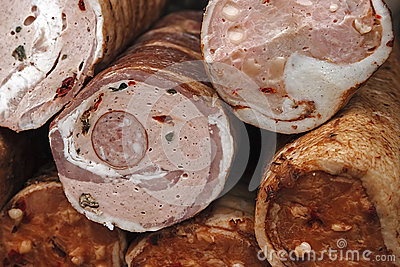 Traditional sausages, cut to be served-1