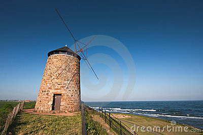 Traditional Scottish coastal windmill