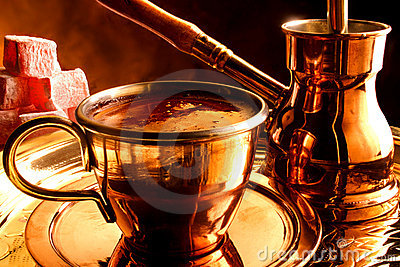 Traditional serving of Turkish coffee