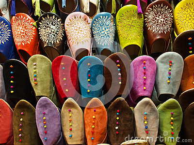 Traditional slippers in souk