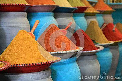 Traditional spices market in Morocco Africa
