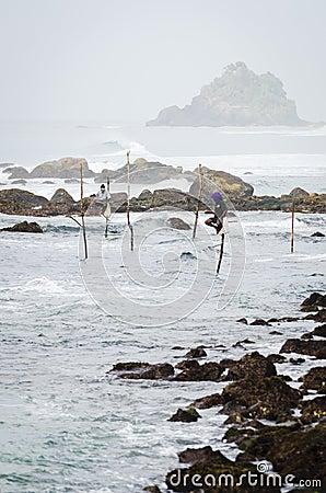 Traditional Sri Lanka s sea coast fishing Editorial Stock Image