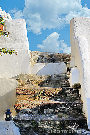 Traditional steps in Santorini island