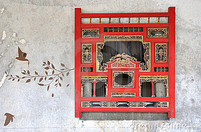 Traditional style window and wall drawing