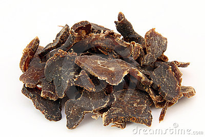 Traditional sun dried South African beef biltong meat
