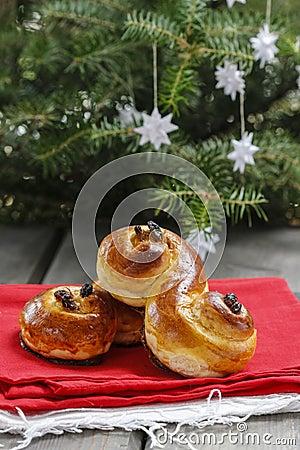 Traditional swedish buns. A saffron bun