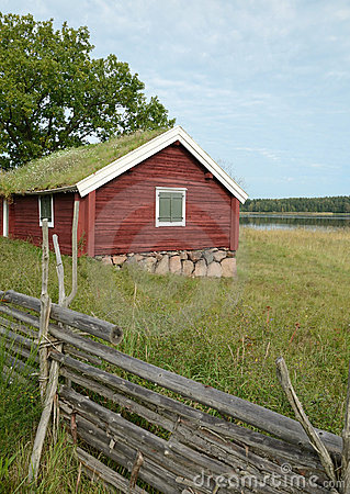 Traditional Swedish cottage - vertical view