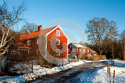 Traditional Swedish houses in winter snow