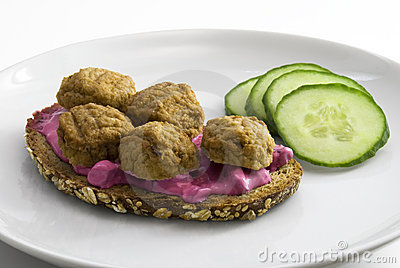 Traditional swedish sandwich with meatballs and be