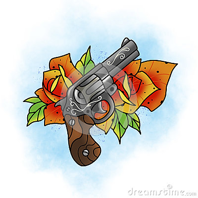 Free Traditional Tattoo Rose And Gun Design. Royalty Free Stock Photography - 97667117