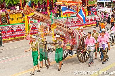 Traditional Thai art on ancient rocket in parades  Boon Bang Fai Editorial Stock Photo