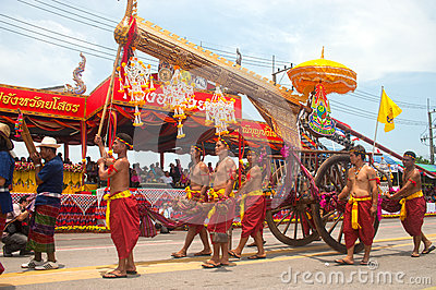 Traditional Thai art on ancient rocket in parades  Boon Bang Fai Editorial Photo