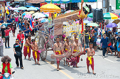 Traditional Thai art on ancient rocket in parades  Boon Bang Fai Editorial Stock Photo