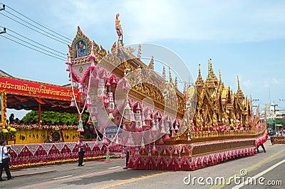 Traditional Thai art on rocket in parades  Boon Bang Fai showing Editorial Stock Image