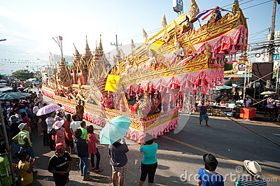 Traditional Thai art on rocket in parades  Boon Bang Fai showing Editorial Stock Image