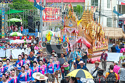 Traditional Thai art on rocket in parades  Boon Bang Fai showing Editorial Stock Photo