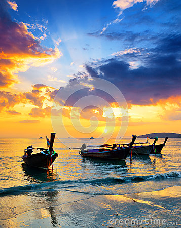 Free Traditional Thai Boats At Sunset Beach Stock Image - 29313041