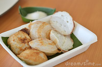 Traditional Thai dessert, coconut milk and rice flour pancake