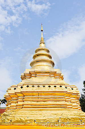 Traditional Thai golden pagoda in Northern style.