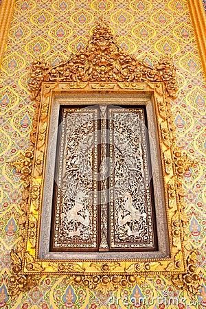 Traditional Thai style Buddhist church window