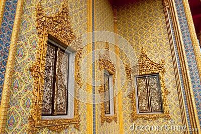 Traditional Thai style Buddhist church windows