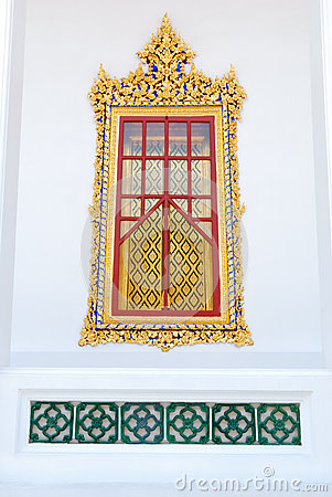 Traditional Thai style church window