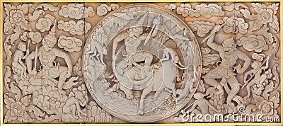 Traditional Thai style molding art  teak wood
