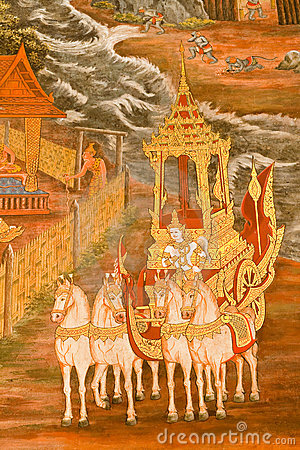 Traditional Thai style painting art on temple wall