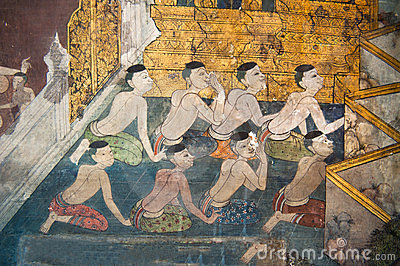 Traditional Thai style painting on the temple wall