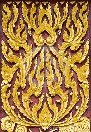 Traditional Thai style pattern wall