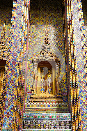 Traditional Thai style window and decoration on the wall