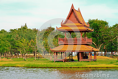 Traditional Thai wooden house.
