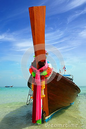 Traditional Thailand boat at beach.