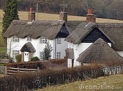 Traditional Thatched English Village Cottages