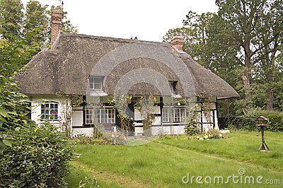 Traditional thatched roof cottage