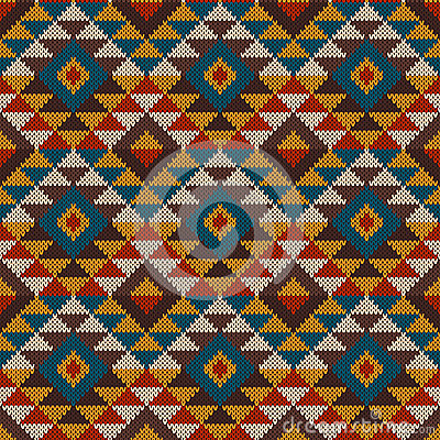 Free Traditional Tribal Aztec Seamless Pattern On The Wool Knitted Te Stock Image - 44554311