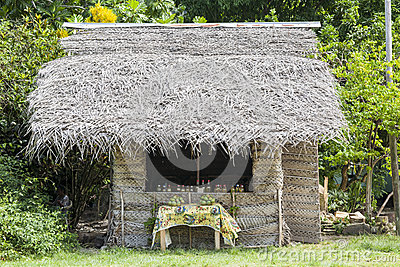 Traditional tropic house made from palm leaves