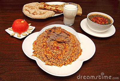 Traditional turkish rice with minced meat