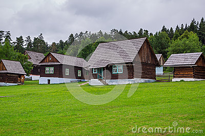 Traditional village with wooden houses in Slovakia