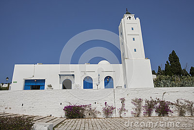 Traditional white and blue building against clear sky, Tunis, Tunisia