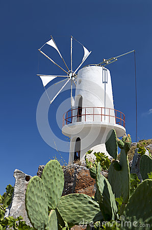 Traditional windmill at Crete, Greece