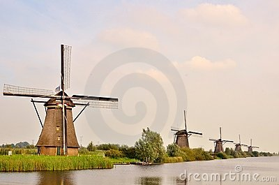 Traditional Windmill in Kinderdijk